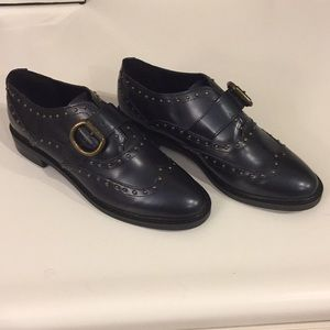 Marc Fisher Bryleigh navy studded loafers, Sz 7
